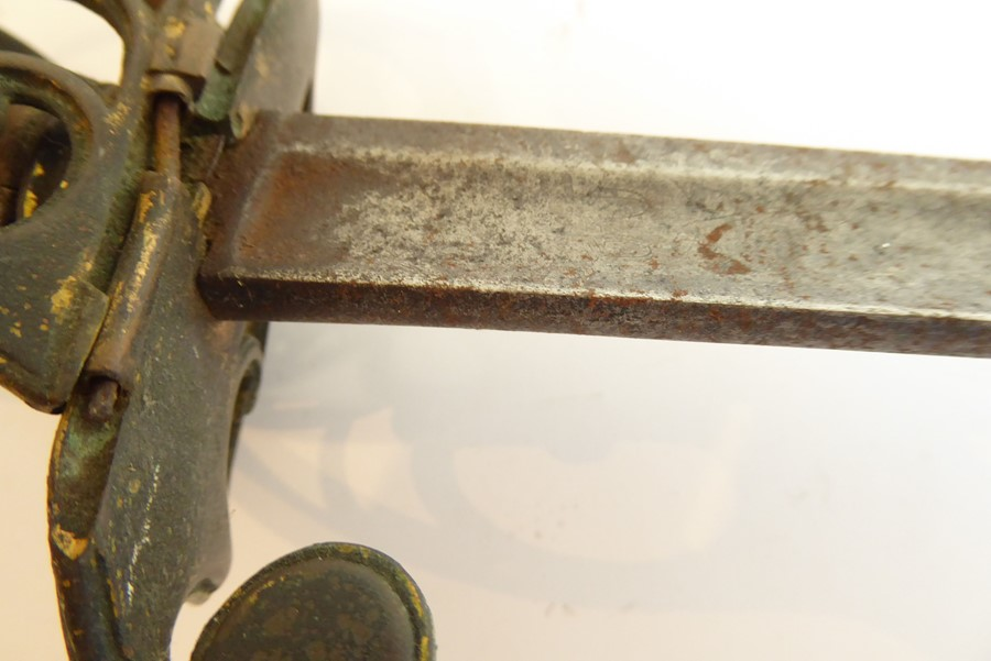 An early 19th century short sword, gilt-metal handle (very worn) and with pierced folding hilt - Image 5 of 7
