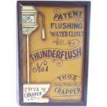 A humorous framed wall hanging 'Thunderflush No1 Patent Flushing Water Closet'