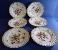 A set of six early 20th century fine quality Dresden porcelain side dishes; each with gilded and
