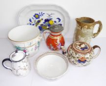 Various ceramics to include a fine quality porcelain cachepot hand-gilded and decorated with flowers