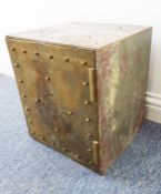 An interesting 19th century brass-fronted ecclesiastical wall safe with key
