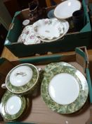 Various decorative ceramics to include an Aynsley part dinner service in the Onyx Green pattern with