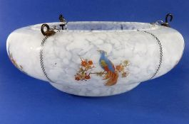 An early 20th century ceiling hanging glass light shade decorated with birds