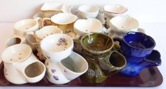A collection of twelve various ceramic shaving mugs