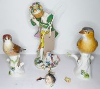 Two early 20th century Meissen porcelain models of birds (both damaged and for restoration),