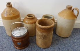 Five early 20th century stoneware jars / flagons together with a wooden biscuit barrel