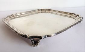 An early 20th century silver-plated salver in Georgian style, maker's mark of James Dixon (20.5cm)