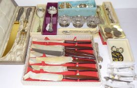 A varied selection of mostly silver and silver plate etc. to include a cased carving set, sterling
