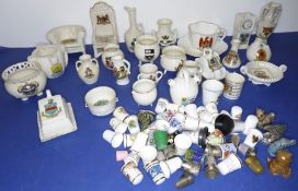 Various commemorative crested ware including Goss examples, together with a good quantity of ceramic