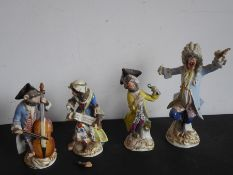 Four hand-decorated 19th century Meissen porcelain monkey band figures (damaged and reparations) (
