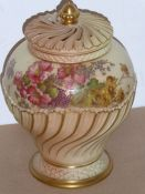 A late 19th century Royal Worcester blush porcelain potpourri; comprising baluster-shaped main