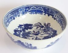 A late 18th century pottery bowl ( possibly Swansea Cambrian), transfer decorated in the 'two
