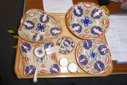 An early 20th century Wedgwood part dessert service; comprising circular comport, two leaf-shaped
