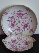 AMeissen porcelain bowl hand-gilded and decorated with various flowers and tendrils etc.,