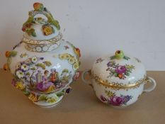A late 19th century Dresden-style porcelain vase; hand-decorated and encrusted with various