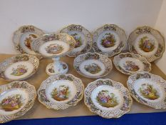 A good late 19th/early 20th century Dresden porcelain part dessert service comprising comport, two