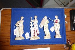 A set of four 19th century continental hand-decorated porcelain figures allegorical of the Arts