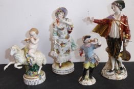 A continental porcelain figure group; late 19th century, a gentleman in early dress with