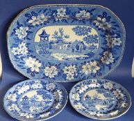 An early 19th century blue-and-white platter with unusual depiction of an elephant and attendant