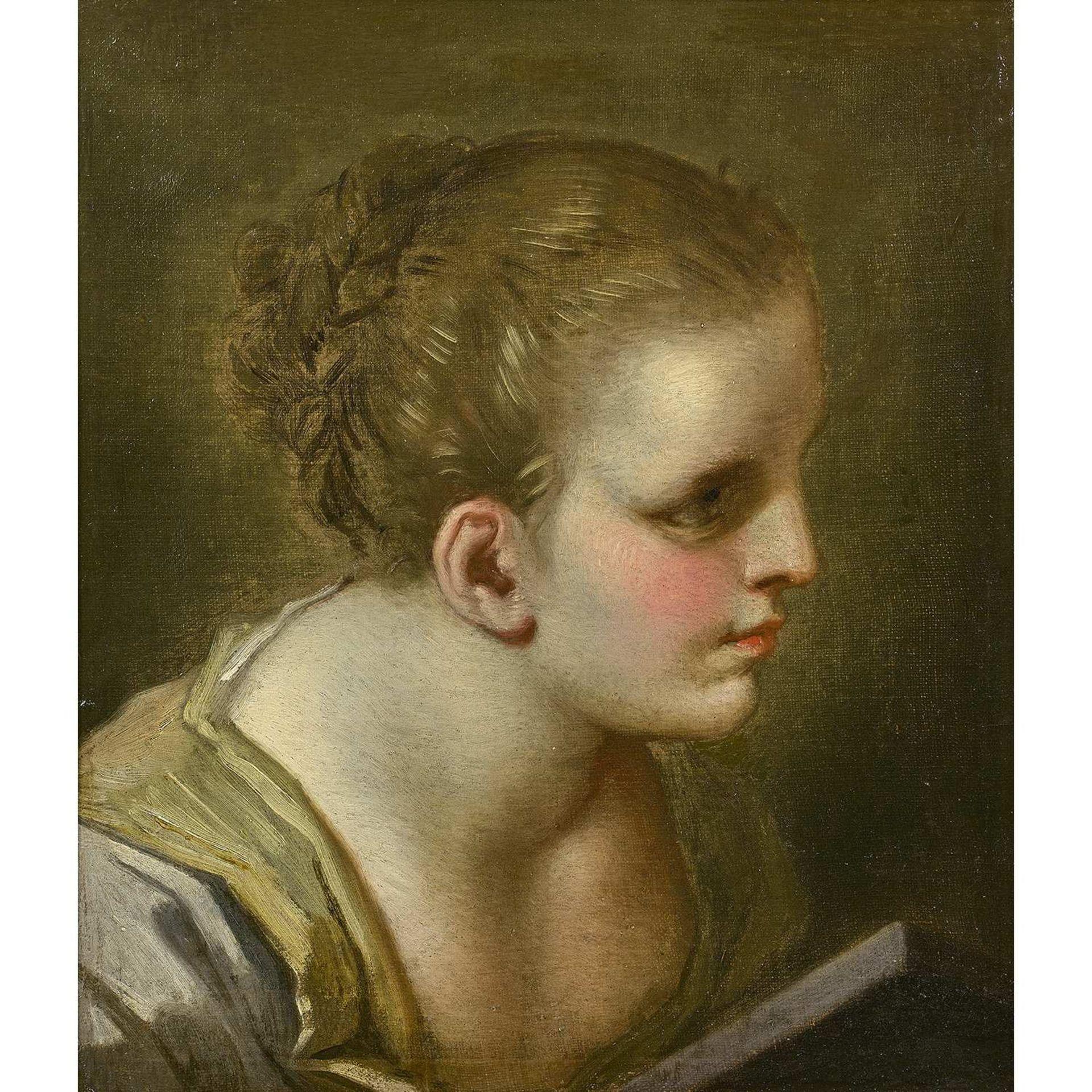 Los 9 - Benedetto LUTI (Florence, 1666-Rome, 1724) Tête de jeune fille Toile Restaurations anciennes 33,5