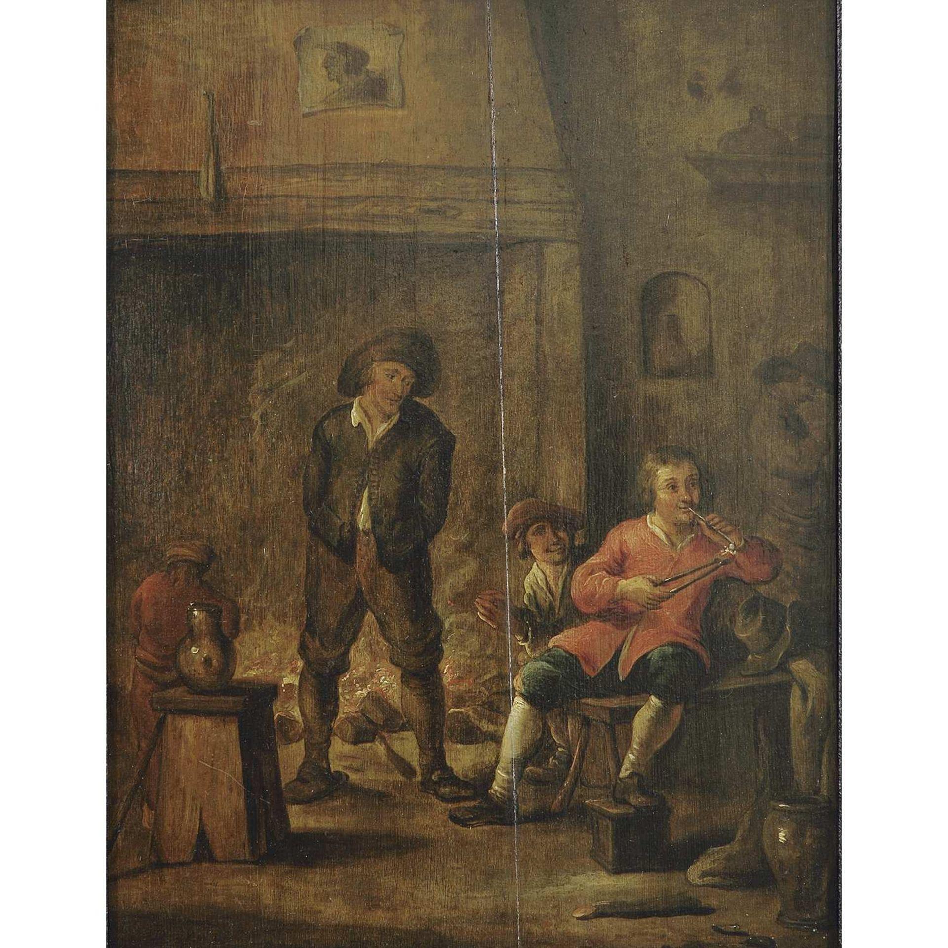 Los 58 - ÉCOLE FLAMANDE VERS 1820, SUIVEUR D'ADRIAEN BROUWER SCèNE DE TABAGIE Panneau de chêne avec deux