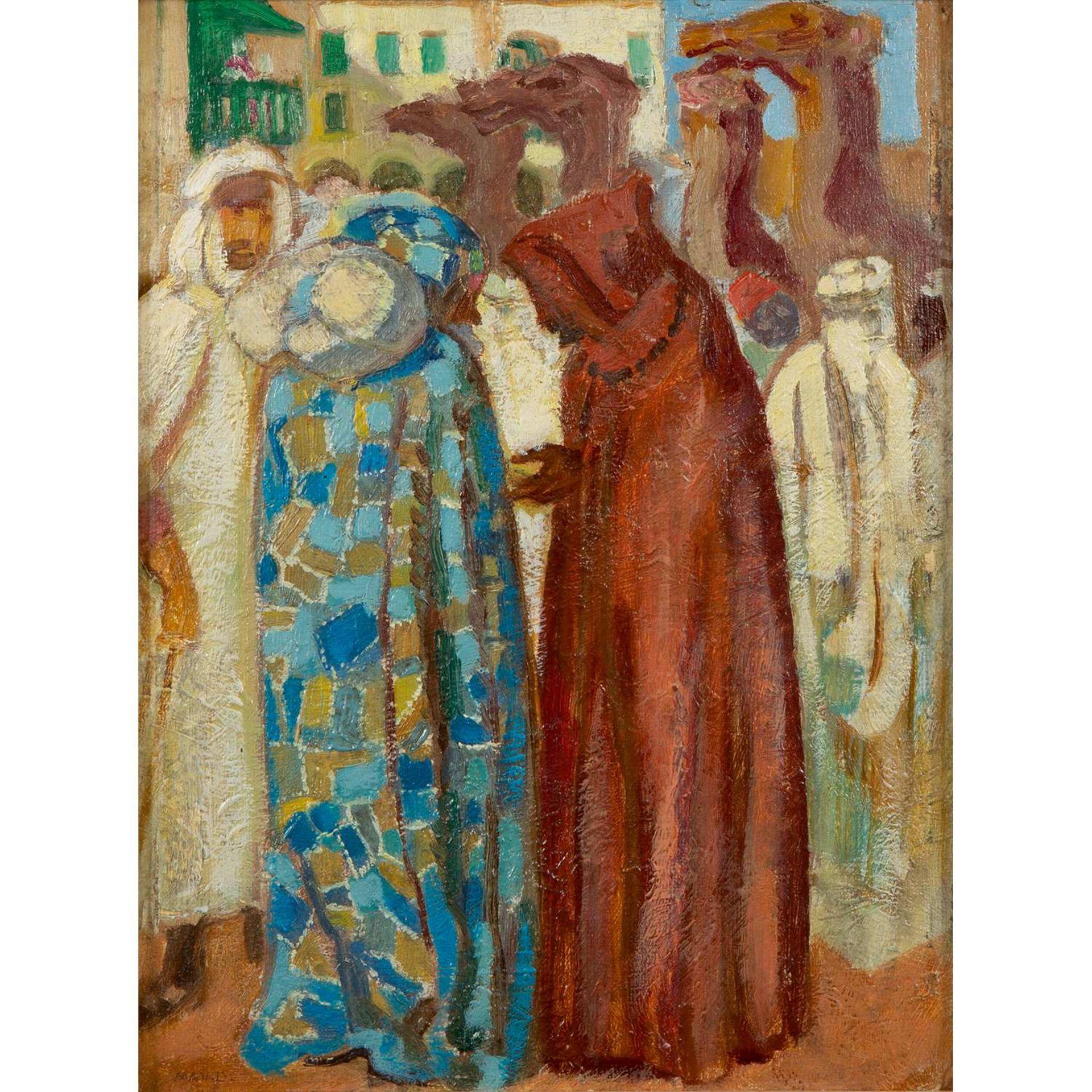 Los 34 - MAURICE DENIS (1870-1943) LE MARCHÉ À BISKRA Huile sur carton Signée en bas à gauche Annotée au
