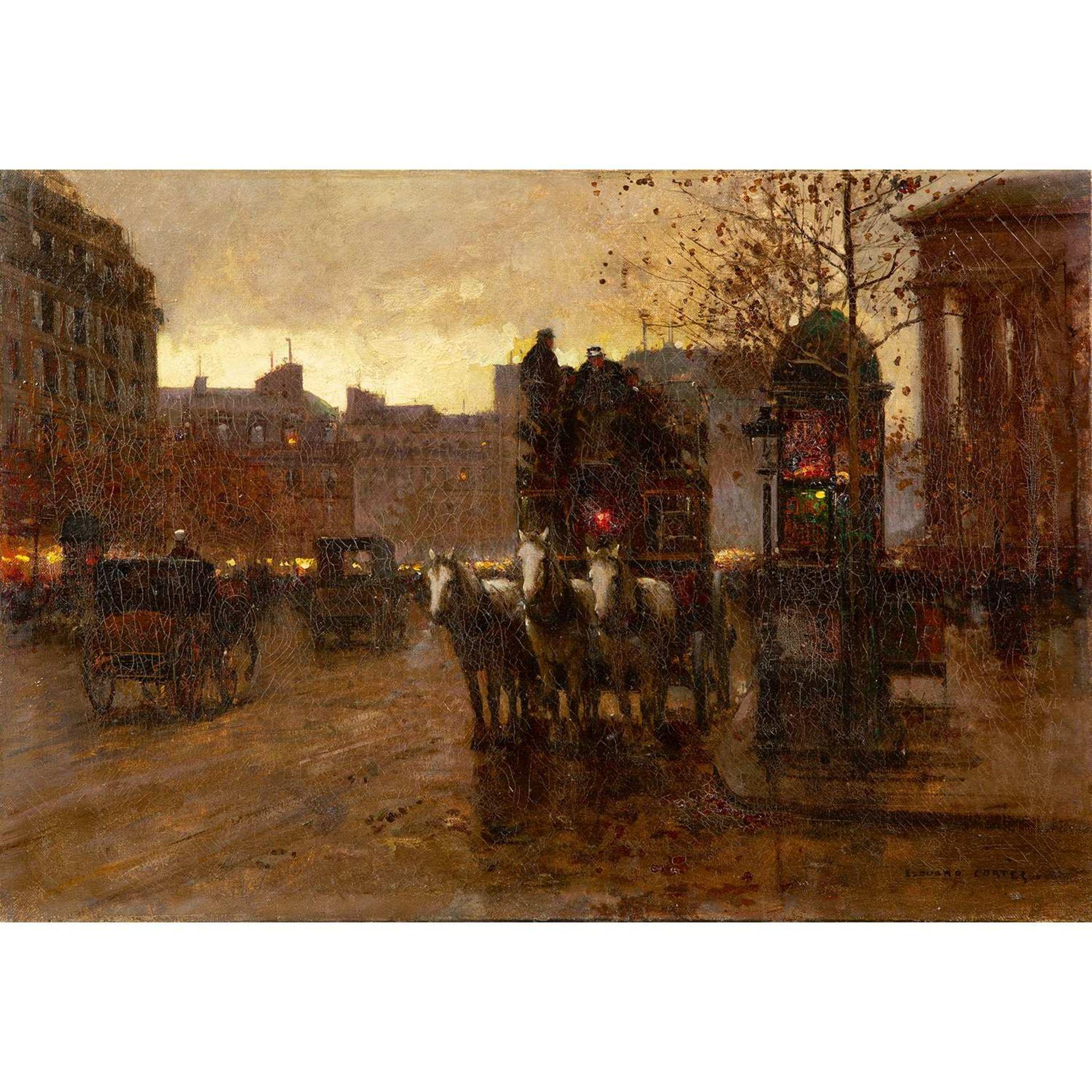 Los 29 - ÉDOUARD-LÉON CORTÈS (1882-1969) PLACE DE LA MADELEINE, LE SOIR Huile sur toile Signée en bas à