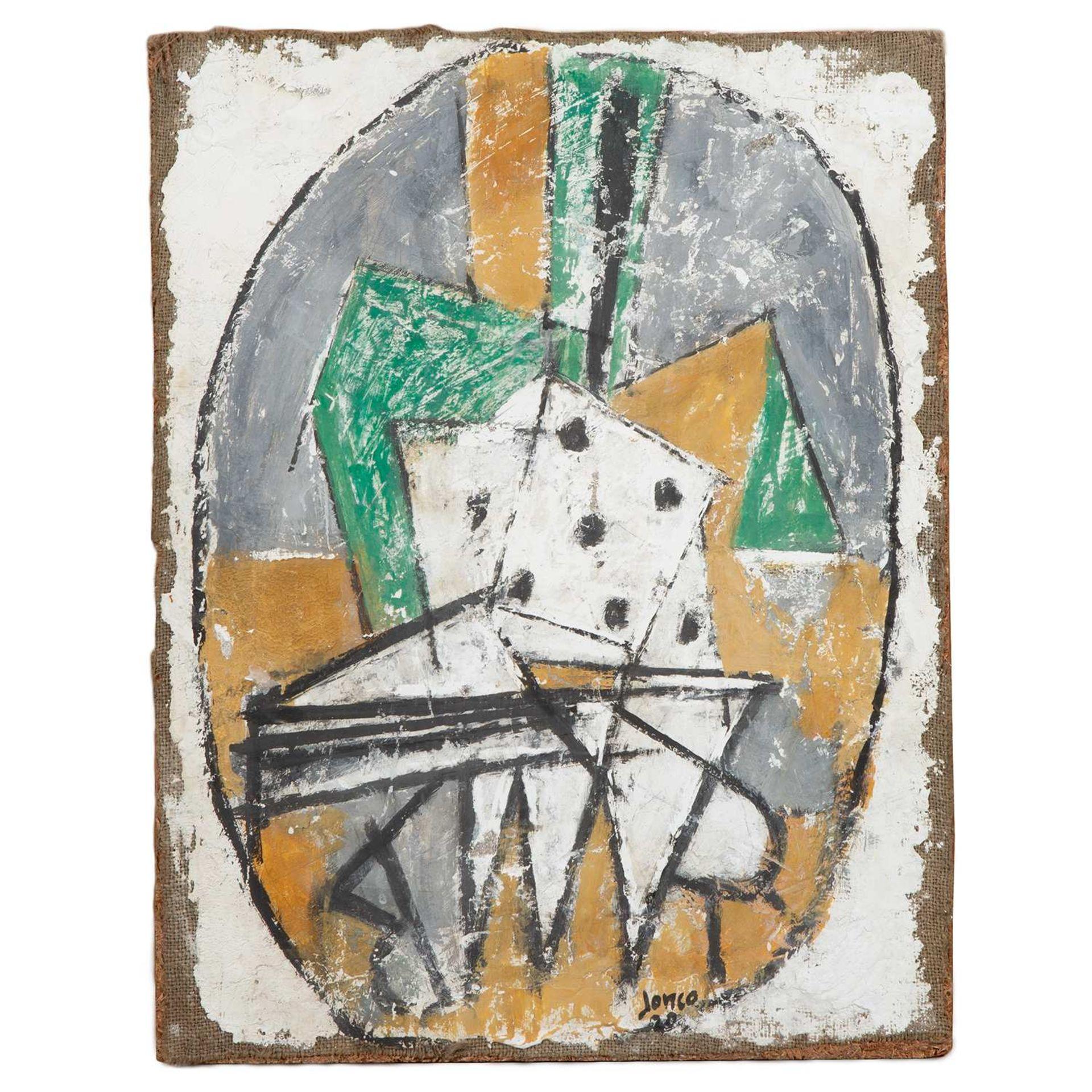 Los 11 - MARCEL JANCO (1895-1984) JEU DE DÉS, 1920 Peinture sur plâtre sur toile contrecollée sur panneau