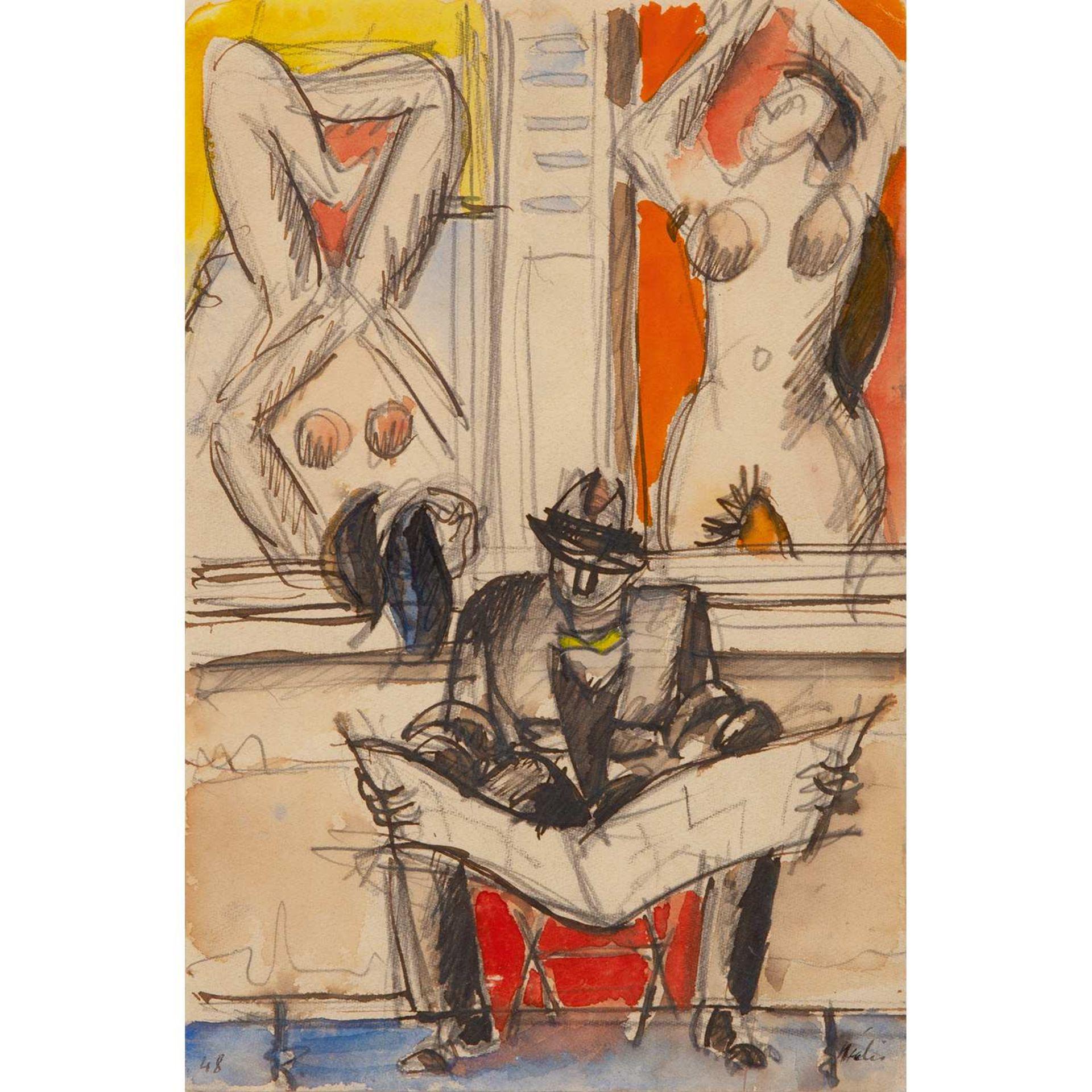 Los 38 - JEAN HÉLION (1904-1987) LE JOURNALIER AUX FEMMES NUES, 1948 Gouache, aquarelle et crayon sur