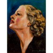 FRANCIS PICABIA (1879-1953) PROFIL DE FEMME BLONDE SUR FOND BLEU, VERS 1941-1942 Huile sur carton