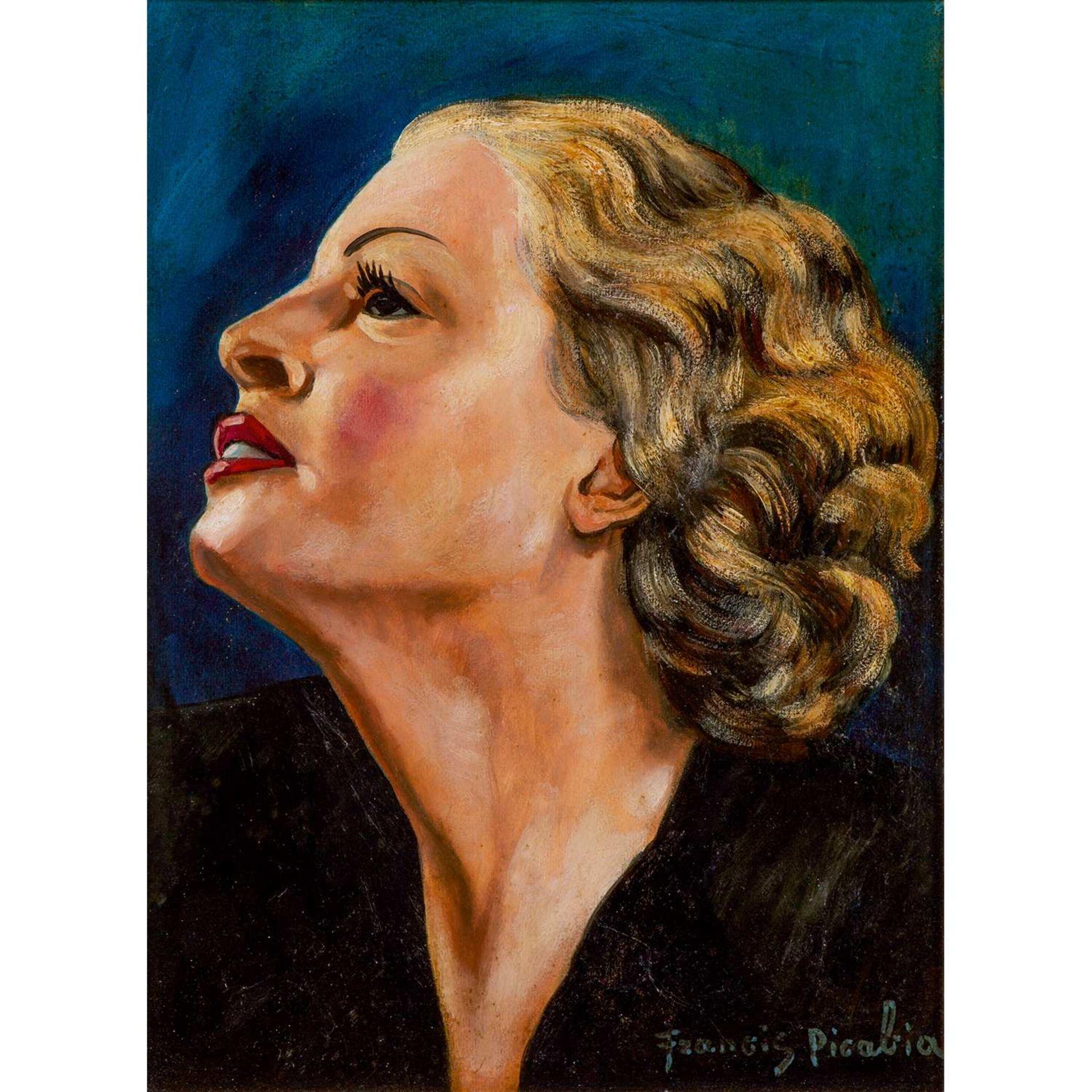 Los 23 - FRANCIS PICABIA (1879-1953) PROFIL DE FEMME BLONDE SUR FOND BLEU, VERS 1941-1942 Huile sur carton