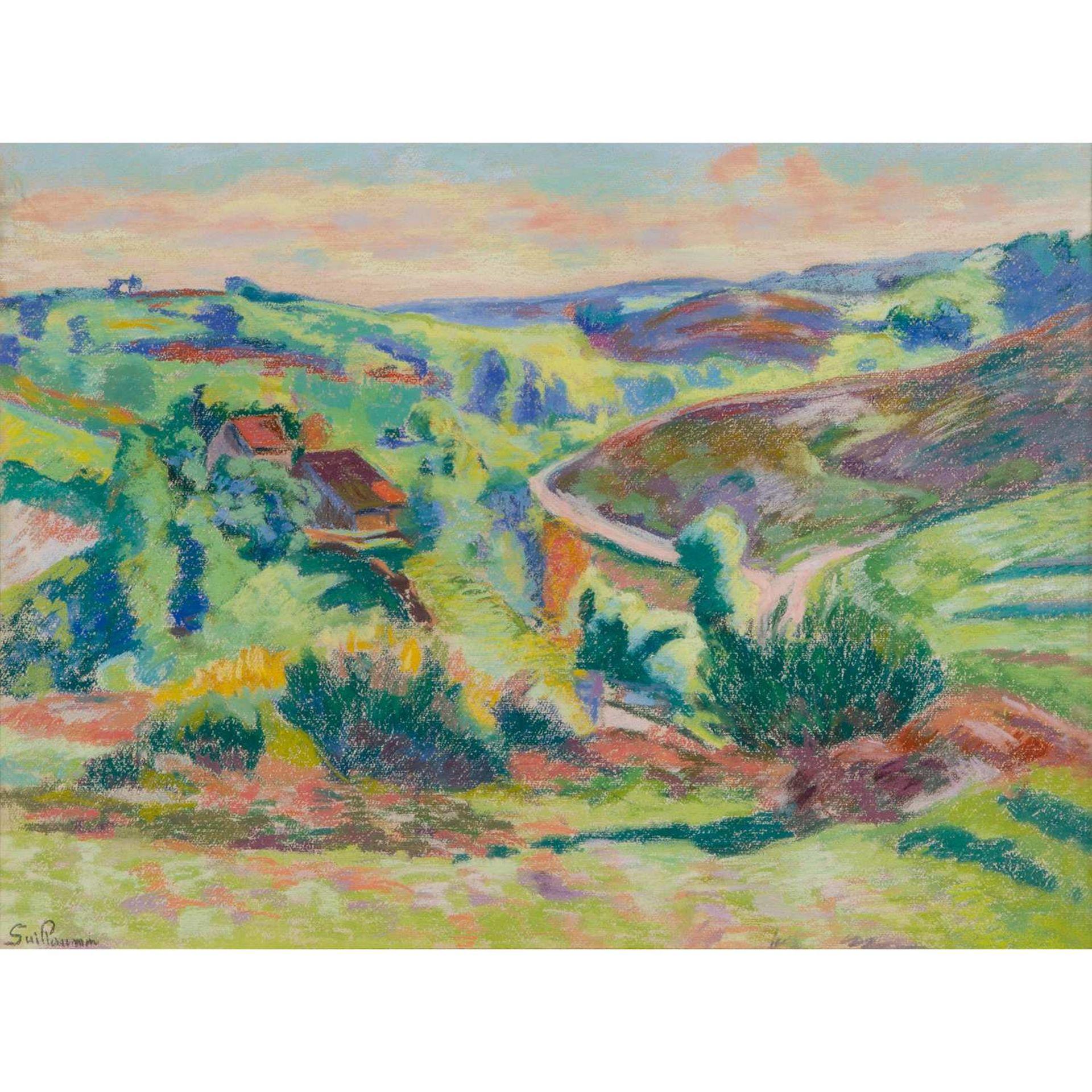 Los 25 - ARMAND GUILLAUMIN (1841-1927) LA CÔTE FACE AU PONT CHARRAUD, CREUSE Pastel sur papier Signé en bas à
