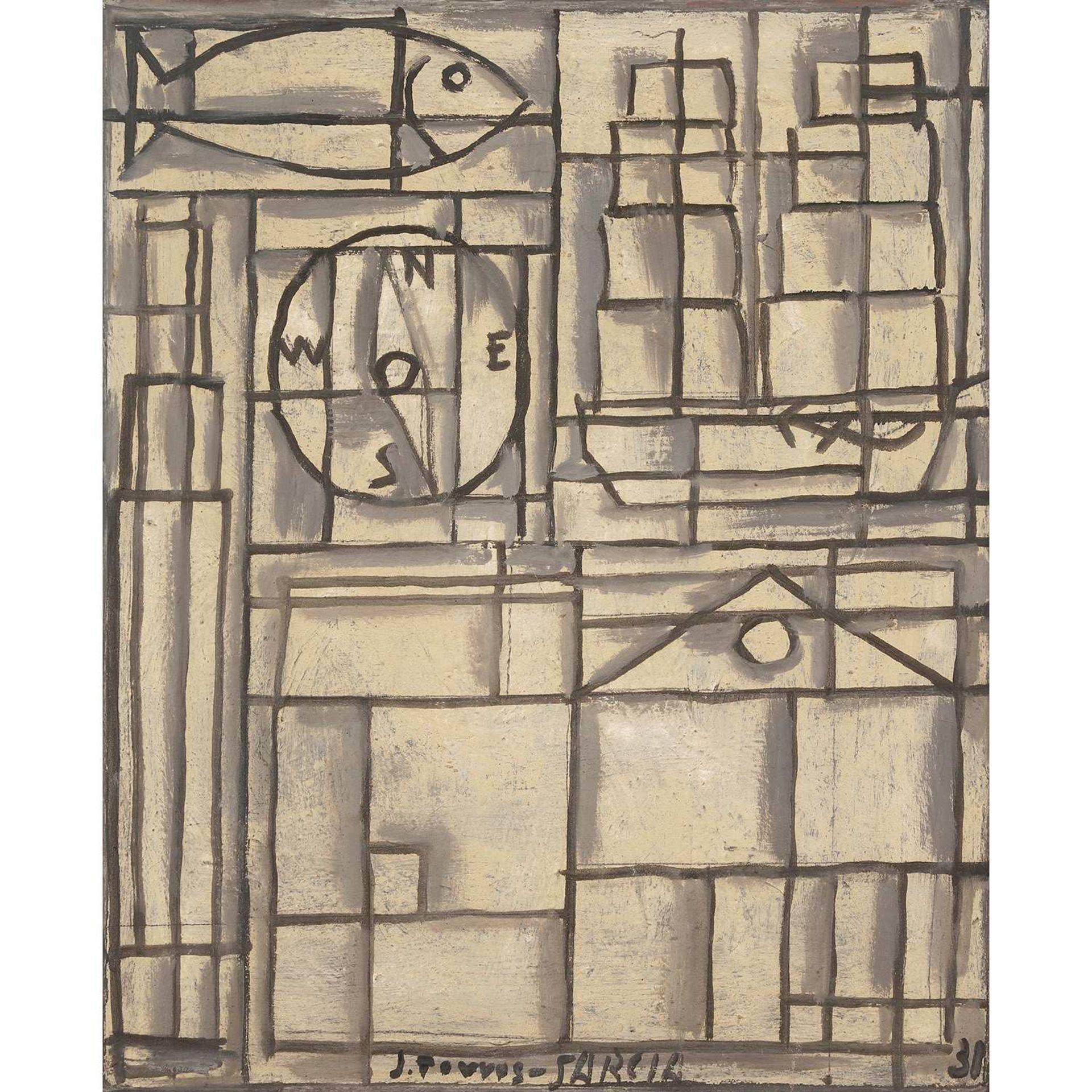 Los 12 - JOAQUÍN TORRES-GARCÍA (1974-1949) COMPOSITION CONSTRUCTIVISTE, 1931 Huile sur toile Signée et