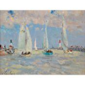 ANDRÉ HAMBOURG (1909-1999) LES VOILIERS À DEAUVILLE Huile sur toile Signée en bas à gauche Signée du