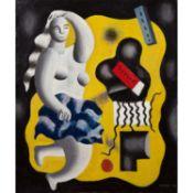 ƒ FERNAND LÉGER (1881-1955) COMPOSITION AVEC FIGURE OU LA DANSEUSE, 1929 Huile sur toile Signée et