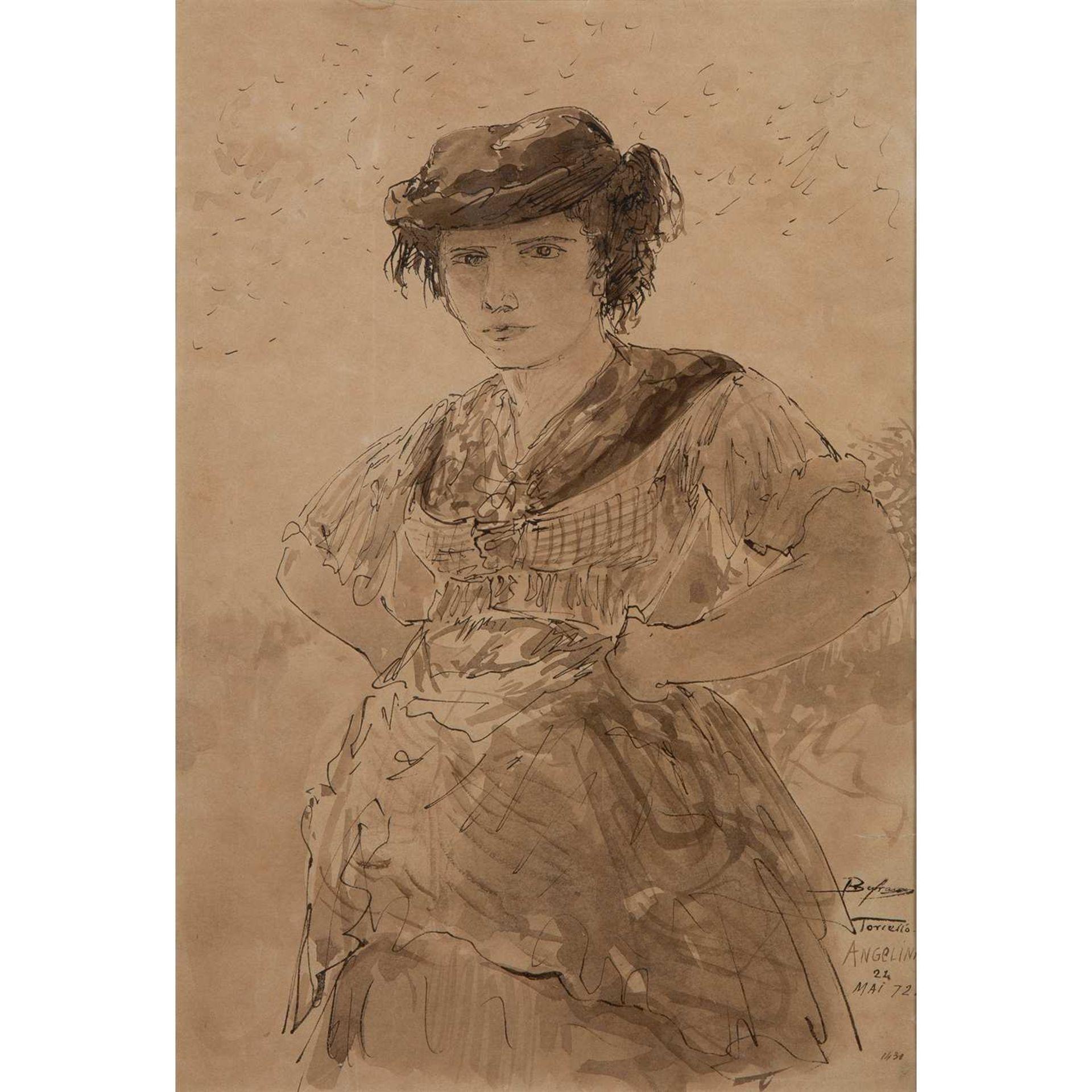 FÉLIX ZIEM (1821-1911) PORTRAIT D'ANGELINA À MI-CORPS, TORCELLO, 1872 Encre sur papier Datée, située