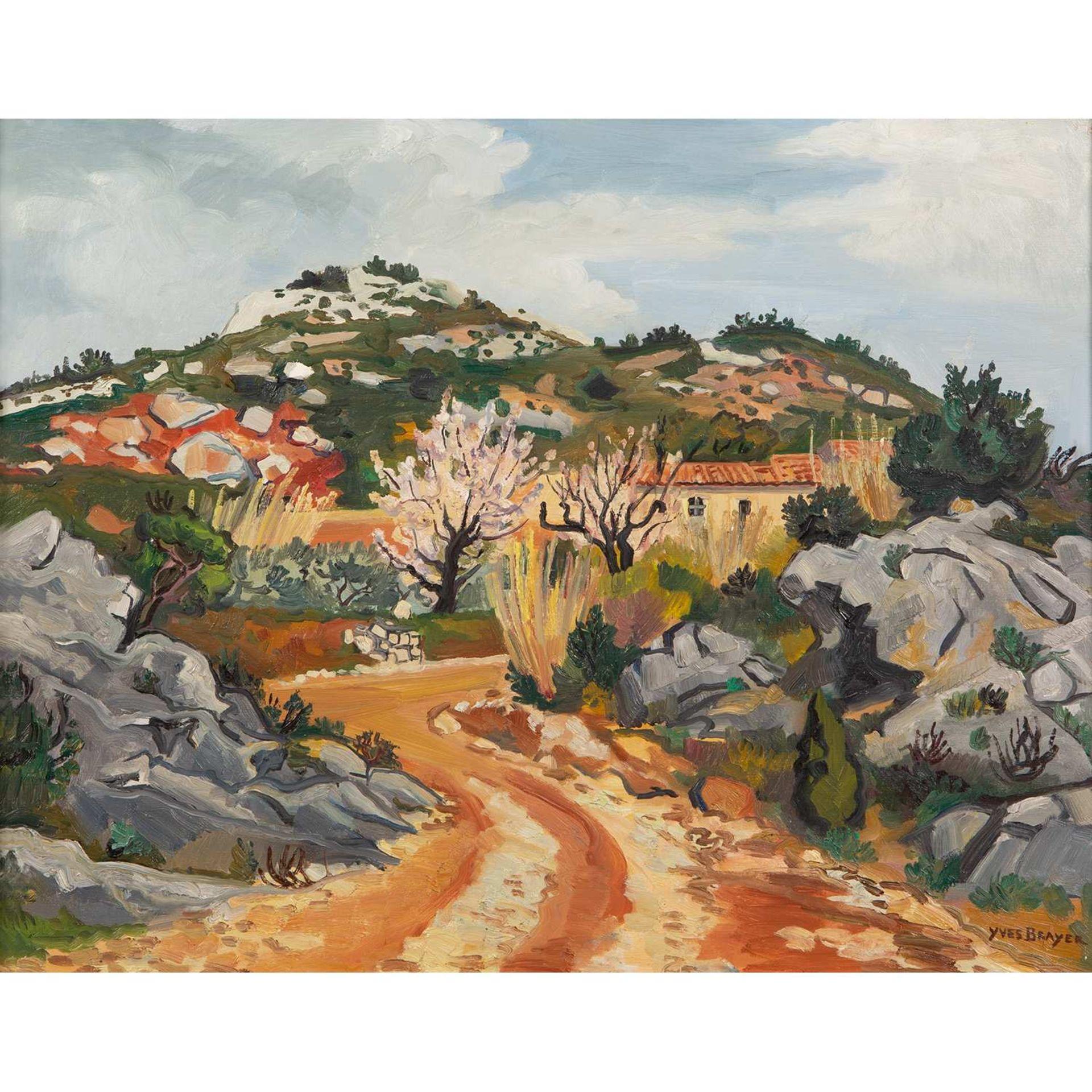 Los 36 - YVES BRAYER (1907-1990) CHEMIN DANS LES ROCHERS AU PRINTEMPS, 1974 Huile sur toile Signée en bas à