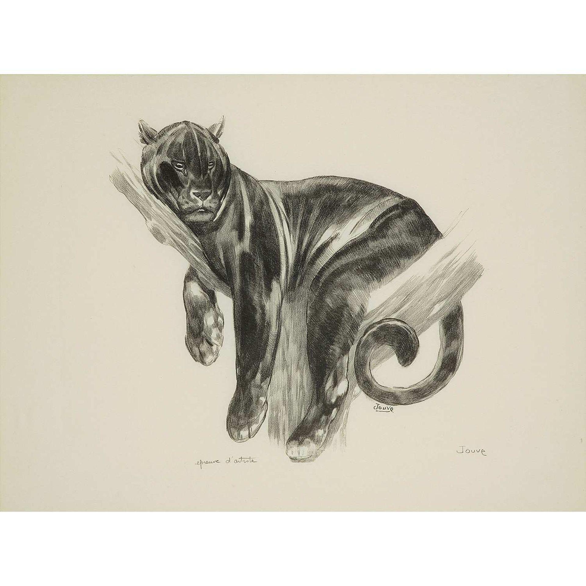 Los 16 - PAUL JOUVE (1878-1973) Panthère branchée, 1938 Lithographie originale sur papier Japon, signée