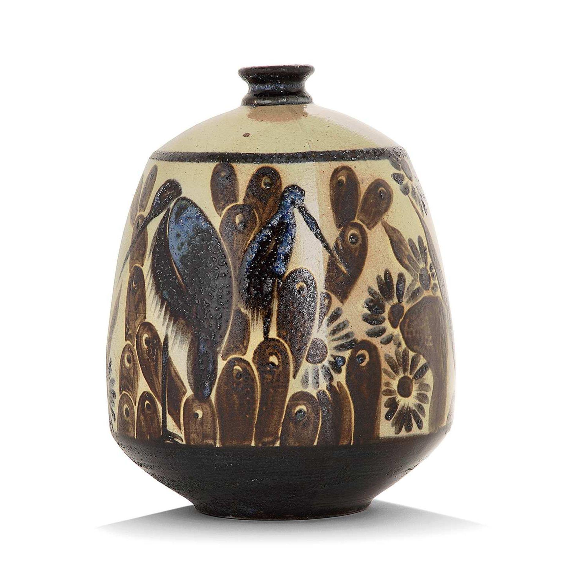 Los 28 - PRIMAVERA & SAINTE RADEGONDE (MANUFACTURE) Vase ovoïde en grès à décor d'une frise d'échassiers dans