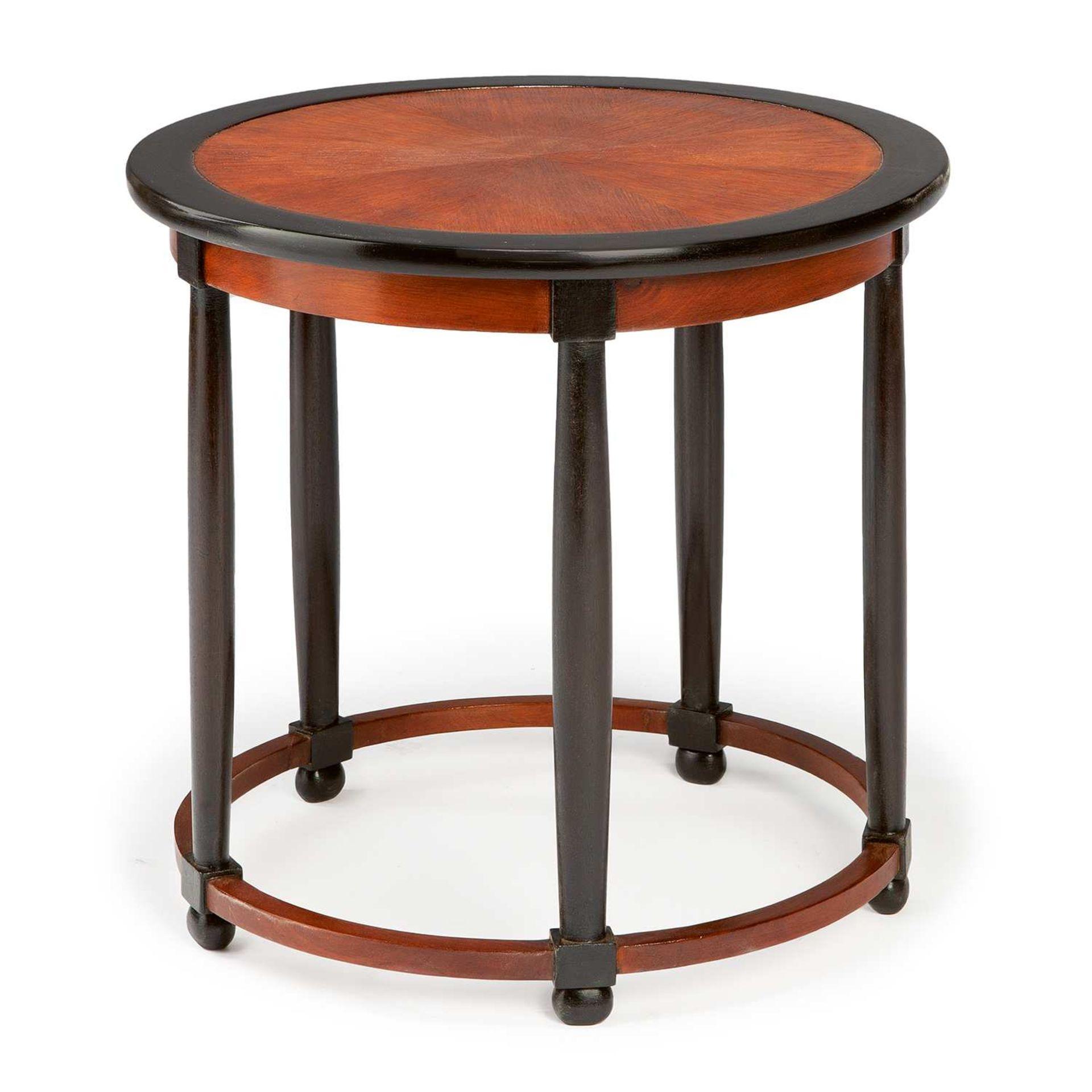 Los 10 - ANDRÉ GROULT (1884-1967) Guéridon circulaire à structure en chêne teinté et bois teinté, piétement