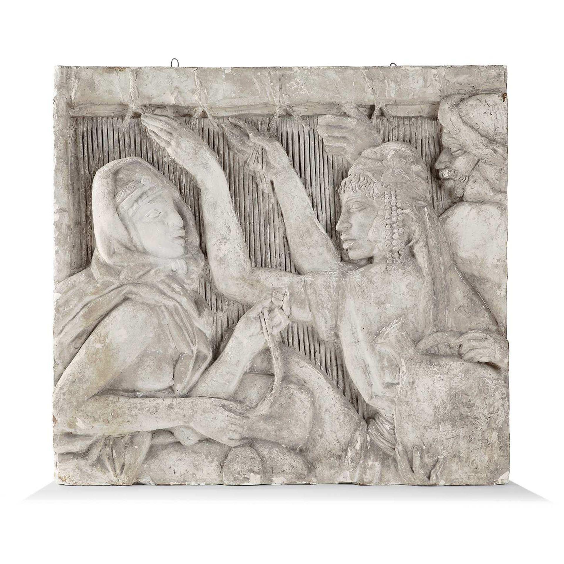 Los 47 - ALFRED-AUGUSTE JANNIOT (1889-1969) Bas-relief original en plâtre à décor de personnages orientaux,