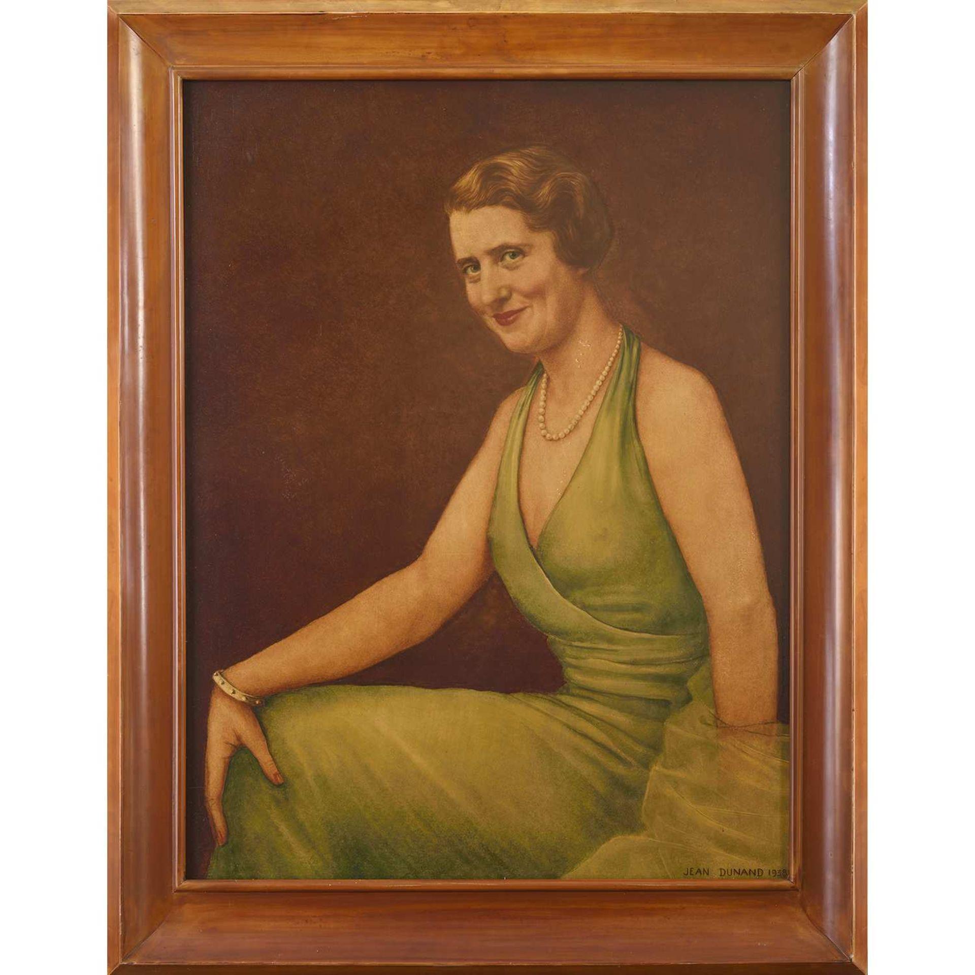 Los 34 - JEAN DUNAND (1877-1942) Portrait de Madame Taillan Panneau rectangulaire en laque de Chine