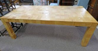 BAMBOO TILE EFFECT DINING TABLE ON SQUARE SUPPORTS