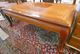 ORIENTAL HARDWOOD RECTANGULAR LOW TABLE ON SHAPED SUPPORTS