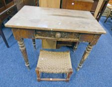 19TH CENTURY PINE RECTANGULAR TABLE WITH DRAWER & ROPE WORK STOOL.