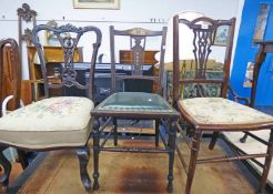 3 EARLY 20TH CENTURY MAHOGANY CHAIRS WITH DECORATIVE CARVING
