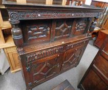 18TH CENTURY OAK COURT CUPBOARD WITH 2 SMALL DOORS OVER 2 DRAWERS OVER 2 PANEL DOORS ON BUN FEET