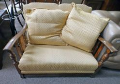 EARLY 20TH CENTURY OAK 2 SEAT SETTEE WITH BERGERE PANELS & TURNED SUPPORTS 80CM TALL