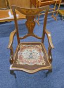 19TH CENTURY MAHOGANY OPEN ARMCHAIR WITH INLAID MARQUETRY DECORATION 93CM TALL