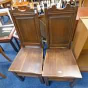 PAIR OF 19TH CENTURY OAK HALL CHAIRS WITH PANEL BACK & SQUARE SUPPORTS 110CM TALL